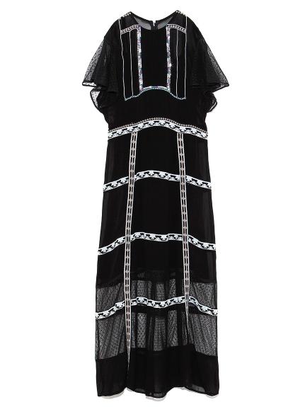チュール刺繍OP(BLK-F)