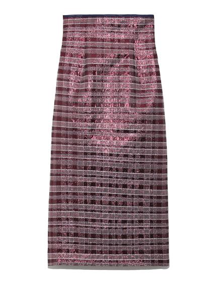 ラメジャガードタイトスカート(RED-F)