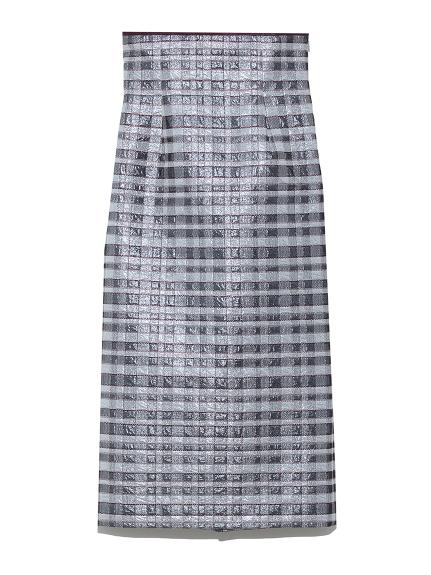 ラメジャガードタイトスカート(BLU-F)