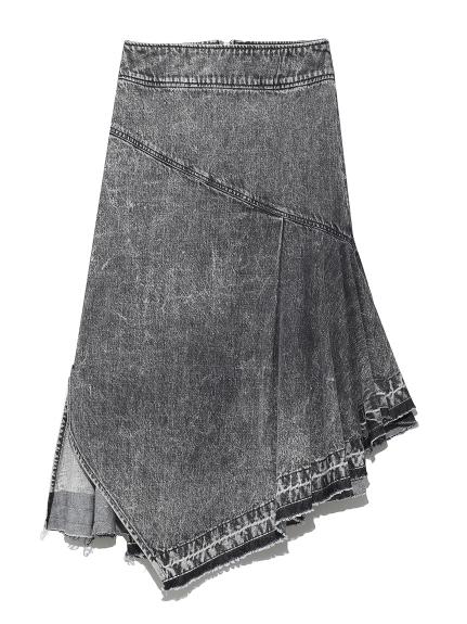 デニムアシメスカート
