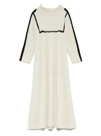 トリムドAニットドレス