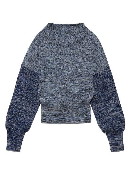 ミックスカラーボトルネックセーター