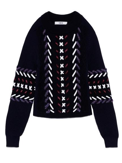 レースアップセーター